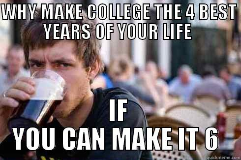 Why make college the 4 best years of your life? - WHY MAKE COLLEGE THE 4 BEST YEARS OF YOUR LIFE  IF YOU CAN MAKE IT 6  Lazy College Senior