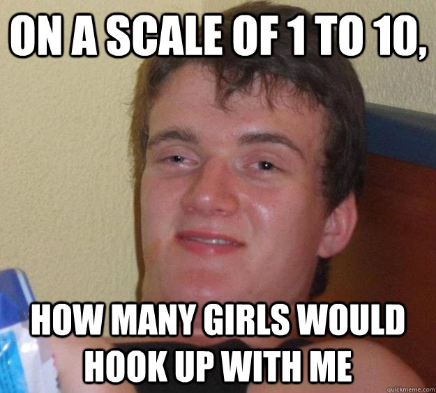 On a scale of 1 to 10, how many girls would hook up with me - On a scale of 1 to 10, how many girls would hook up with me  10 Guy