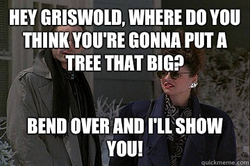 Hey Griswold, where do you think you're gonna put a tree that big? Bend over and I'll show you!  Christmas Vacation
