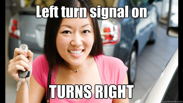 Left turn signal on TURNS RIGHT  Female Asian Driver