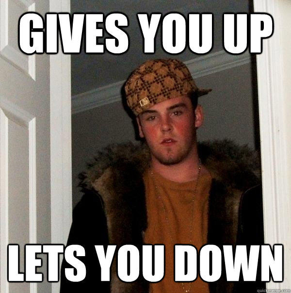gives you up  lets you down - gives you up  lets you down  Scumbag Steve