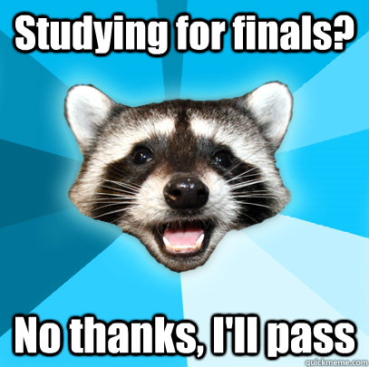 Studying for finals? No thanks, I'll pass - Studying for finals? No thanks, I'll pass  Lame Pun Coon