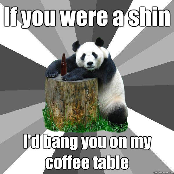 If you were a shin I'd bang you on my coffee table - If you were a shin I'd bang you on my coffee table  Pickup-Line Panda