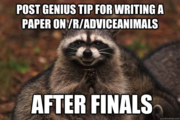 Post genius tip for writing a paper on /r/adviceanimals  after finals - Post genius tip for writing a paper on /r/adviceanimals  after finals  Evil Plotting Raccoon