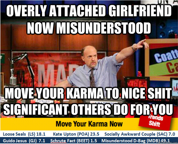 Overly attached girlfriend now misunderstood Move your karma to nice shit significant others do for you