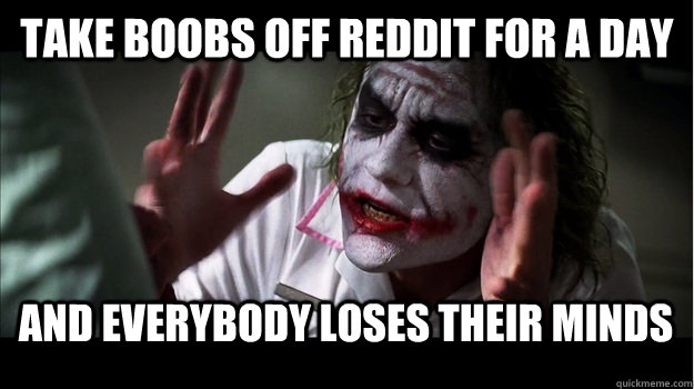 Take boobs off reddit for a day and everybody loses their minds - Take boobs off reddit for a day and everybody loses their minds  Joker Mind Loss
