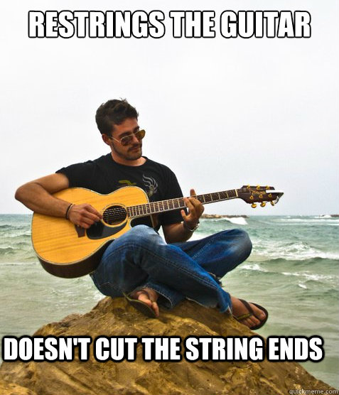 Restrings the guitar doesn't cut the string ends