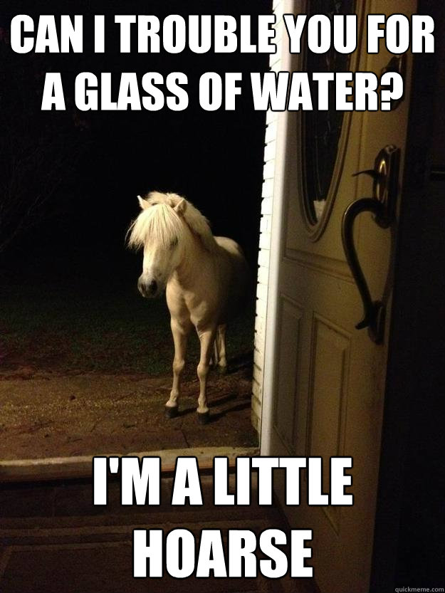 Can I trouble you for a glass of water? I'm a little hoarse - Can I trouble you for a glass of water? I'm a little hoarse  Neighborhood Nuisance