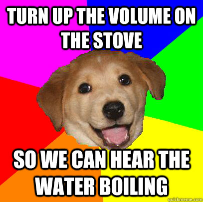 Turn up the volume on the stove so we can hear the water boiling - Turn up the volume on the stove so we can hear the water boiling  Advice Dog