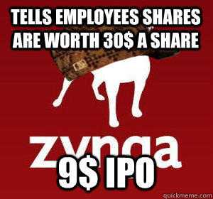 Tells employees shares are worth 30$ a Share  9$ IPO