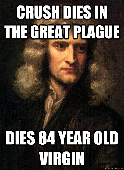 Crush Dies in the great Plague Dies 84 year old virgin  Sir Isaac Newton