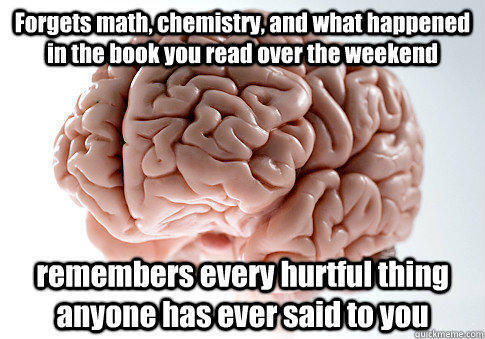 Forgets math, chemistry, and what happened in the book you read over the weekend remembers every hurtful thing anyone has ever said to you - Forgets math, chemistry, and what happened in the book you read over the weekend remembers every hurtful thing anyone has ever said to you  Scumbag Brain