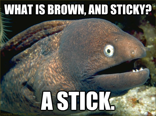 What is brown, and sticky? A stick. - What is brown, and sticky? A stick.  Bad Joke Eel