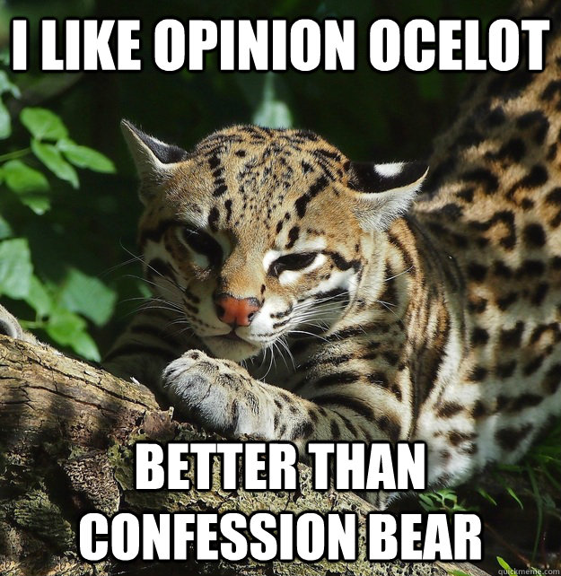 I like opinion ocelot better than confession bear