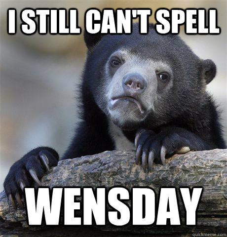 I still can't spell Wensday  - I still can't spell Wensday   Confession Bear