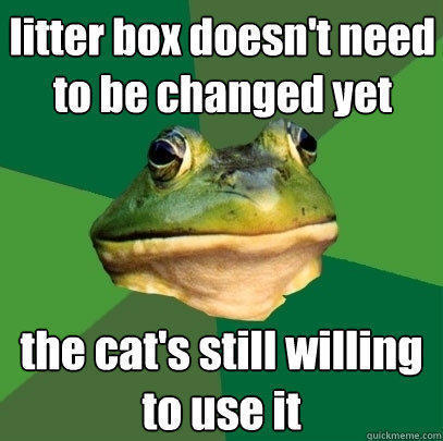 litter box doesn't need to be changed yet the cat's still willing to use it - litter box doesn't need to be changed yet the cat's still willing to use it  Foul Bachelor Frog