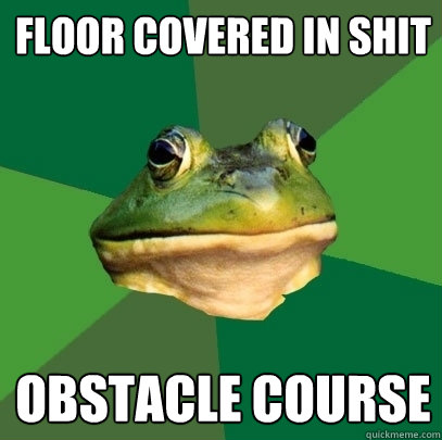 floor covered in shit obstacle course - floor covered in shit obstacle course  Foul Bachelor Frog