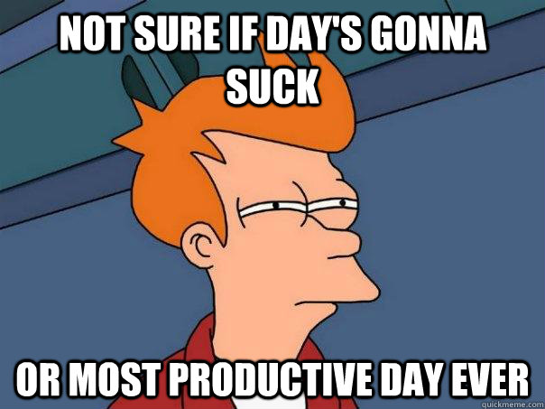 Not sure if day's gonna suck or most productive day ever - Not sure if day's gonna suck or most productive day ever  Futurama Fry