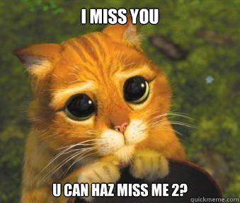 I miss you u can haz miss me 2?