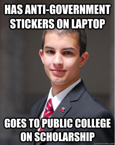 Has Anti-Government Stickers On Laptop Goes to Public College on scholarship   College Conservative