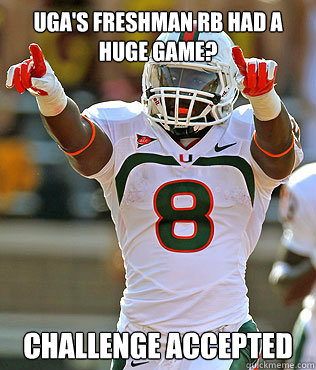 UGA's freshman RB had a huge game? CHALLENGE ACCEPTED - UGA's freshman RB had a huge game? CHALLENGE ACCEPTED  Duke Johnson