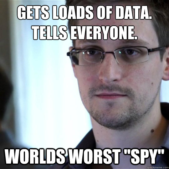 Gets loads of data. Tells EVERYONE. Worlds worst