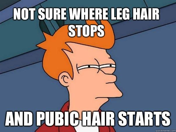 Not sure where leg hair stops And pubic hair starts - Not sure where leg hair stops And pubic hair starts  Futurama Fry