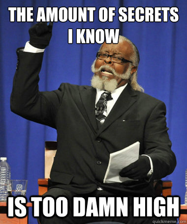 THe amount of secrets i know  is too damn high - THe amount of secrets i know  is too damn high  The Rent Is Too Damn High