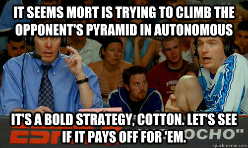 It seems mort is trying to climb the opponent's pyramid in autonomous It's a bold strategy, Cotton. Let's see if it pays off for 'em. - It seems mort is trying to climb the opponent's pyramid in autonomous It's a bold strategy, Cotton. Let's see if it pays off for 'em.  Cotton Pepper