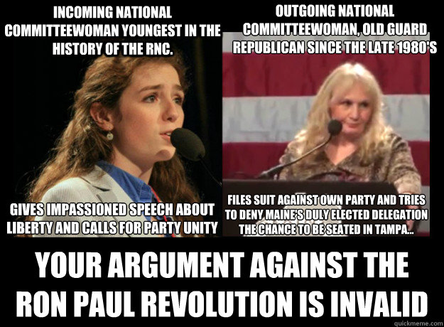INCOMING NATIONAL COMMITTEEWOMAN YOUNGEST IN THE HISTORY OF THE RNC. YOUR ARGUMENT AGAINST THE RON PAUL REVOLUTION IS INVALID  OUTGOING NATIONAL COMMITTEEWOMAN, OLD GUARD REPUBLICAN SINCE THE LATE 1980'S   GIVES IMPASSIONED SPEECH ABOUT LIBERTY AND CALLS