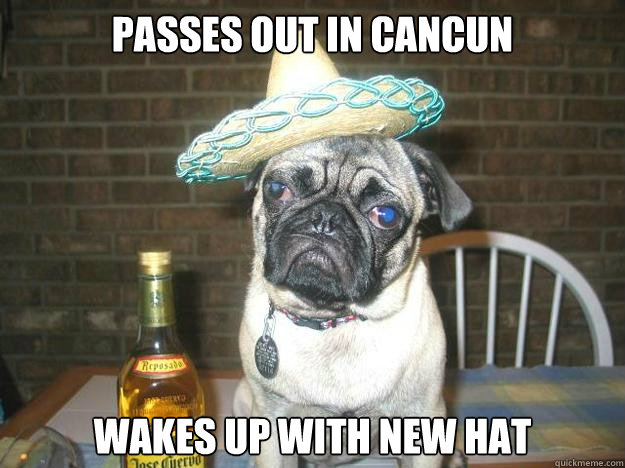passes out in cancun wakes up with new hat
