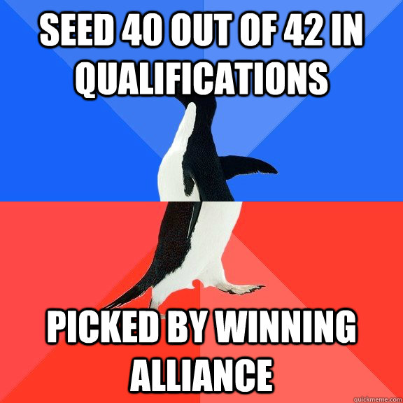 Seed 40 out of 42 in qualifications Picked by winning alliance - Seed 40 out of 42 in qualifications Picked by winning alliance  Socially Awkward Awesome Penguin