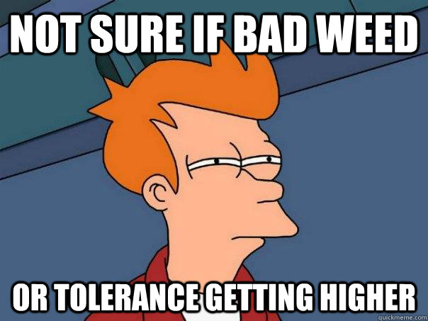 Not sure if bad weed Or tolerance getting higher - Not sure if bad weed Or tolerance getting higher  Futurama Fry