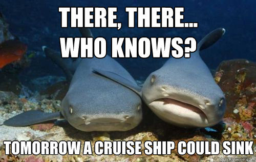 There, there... who knows? tomorrow a cruise ship could sink - There, there... who knows? tomorrow a cruise ship could sink  Compassionate Shark Friend