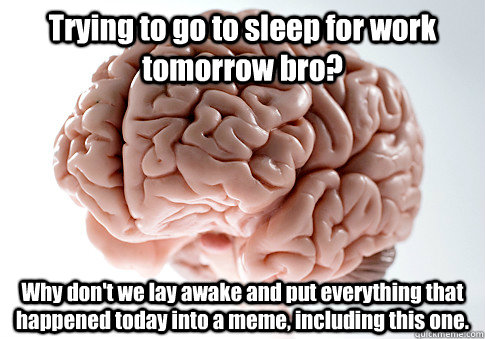 Trying to go to sleep for work tomorrow bro? Why don't we lay awake and put everything that happened today into a meme, including this one. - Trying to go to sleep for work tomorrow bro? Why don't we lay awake and put everything that happened today into a meme, including this one.  Scumbag Brain