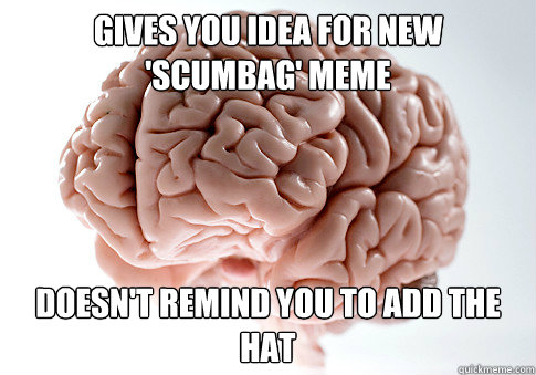 Gives you idea for new 'scumbag' meme Doesn't remind you to add the hat - Gives you idea for new 'scumbag' meme Doesn't remind you to add the hat  Scumbag Brain