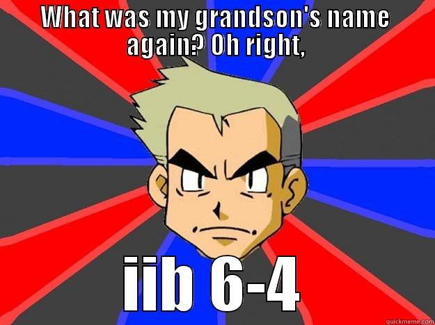WHAT WAS MY GRANDSON'S NAME AGAIN? OH RIGHT, IIB 6-4 Professor Oak