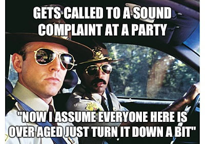 Gets called to a sound complaint at a party