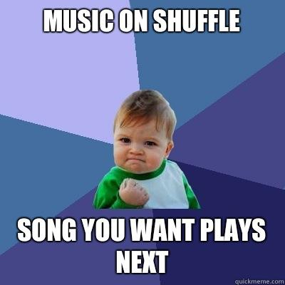 Music on shuffle Song you want plays next - Music on shuffle Song you want plays next  Success Kid