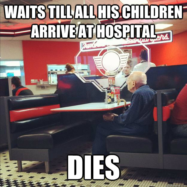 waits till all his children arrive at hospital dies