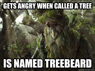 Gets angry when called a tree is named treebeard