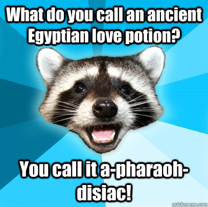 What do you call an ancient Egyptian love potion? You call it a-pharaoh-disiac! - What do you call an ancient Egyptian love potion? You call it a-pharaoh-disiac!  Lame Pun Coon