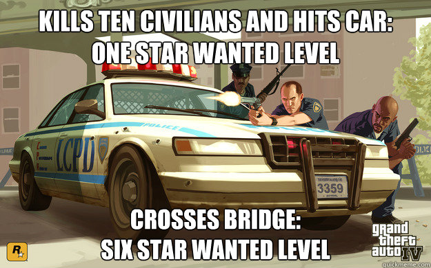 Kills ten civilians and hits car:  one star wanted level Crosses bridge: Six Star wanted level
