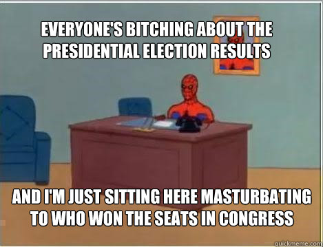 Everyone's bitching about the presidential election results And I'm just sitting here masturbating to who won the seats in Congress - Everyone's bitching about the presidential election results And I'm just sitting here masturbating to who won the seats in Congress  Spiderman