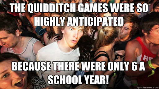 The quidditch games were so highly anticipated because there were only 6 a school year! - The quidditch games were so highly anticipated because there were only 6 a school year!  Sudden Clarity Clarence