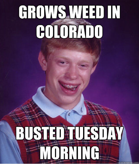 Grows weed in colorado busted tuesday morning - Grows weed in colorado busted tuesday morning  Bad Luck Brian