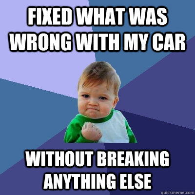 Fixed what was wrong with my car without breaking anything else - Fixed what was wrong with my car without breaking anything else  Success Kid