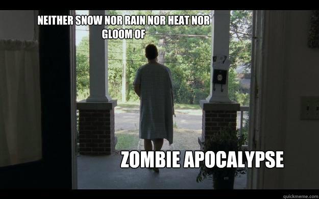 Neither snow nor rain nor heat nor gloom of  Zombie apocalypse