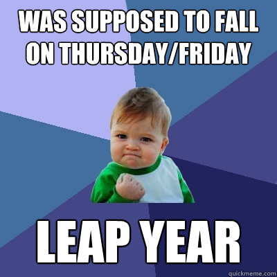 Was supposed to fall on thursday/friday leap year - Was supposed to fall on thursday/friday leap year  Success Kid