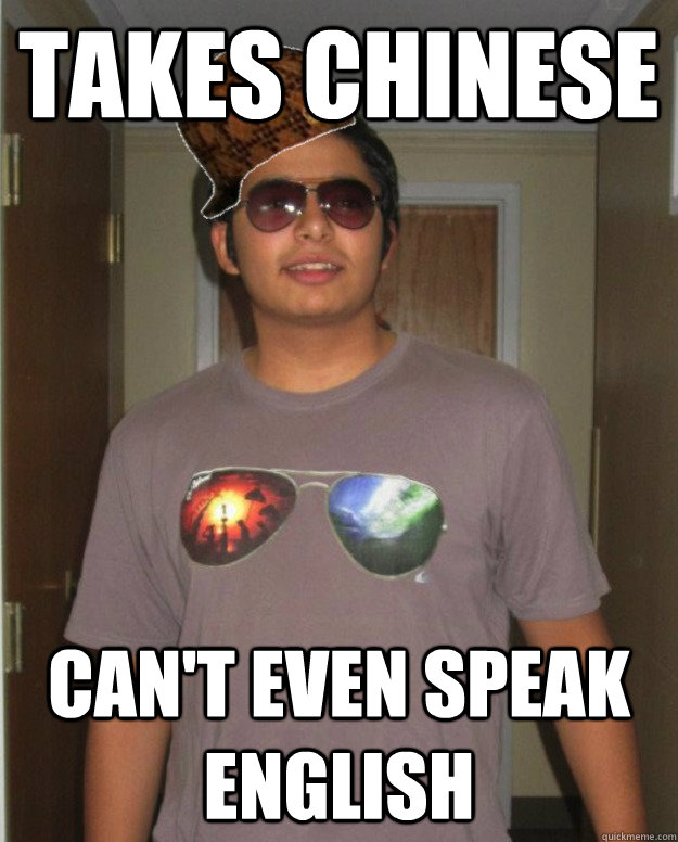 takes chinese can't even speak english